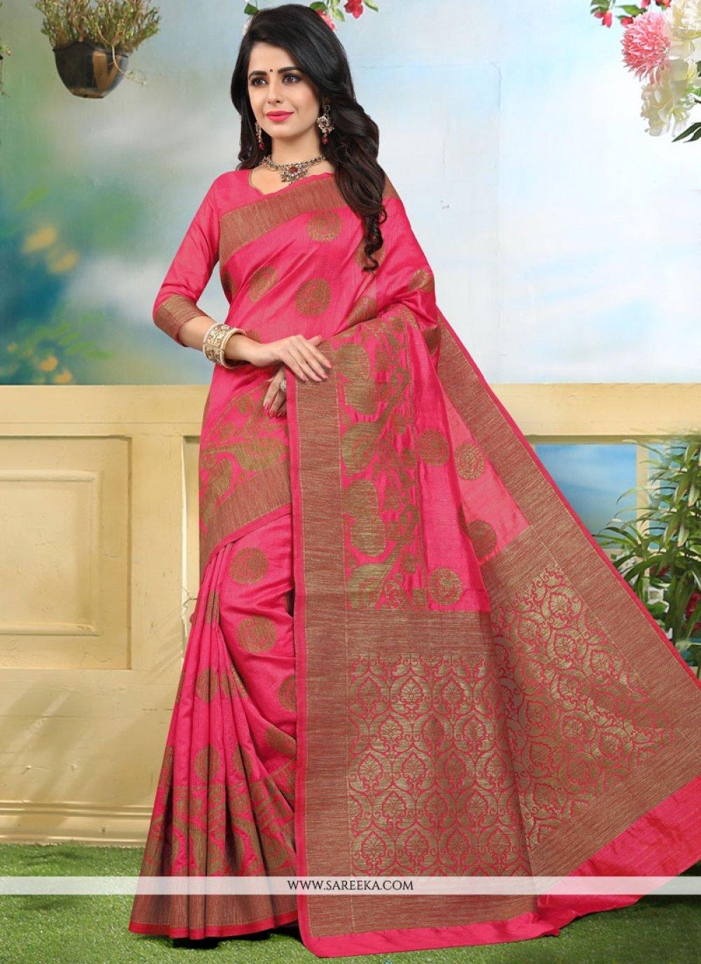 Art Silk Pink Weaving Work Designer Traditional Saree