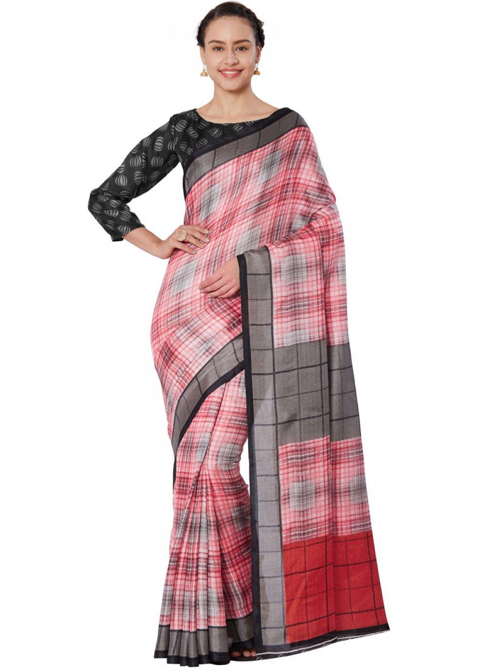Art Silk Print Casual Saree