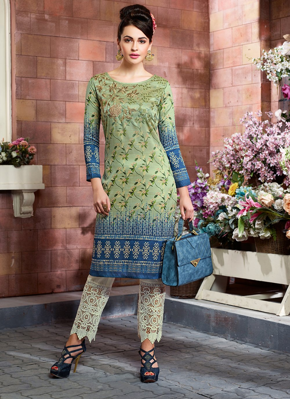 Art Silk Print Multi Colour Party Wear Kurti