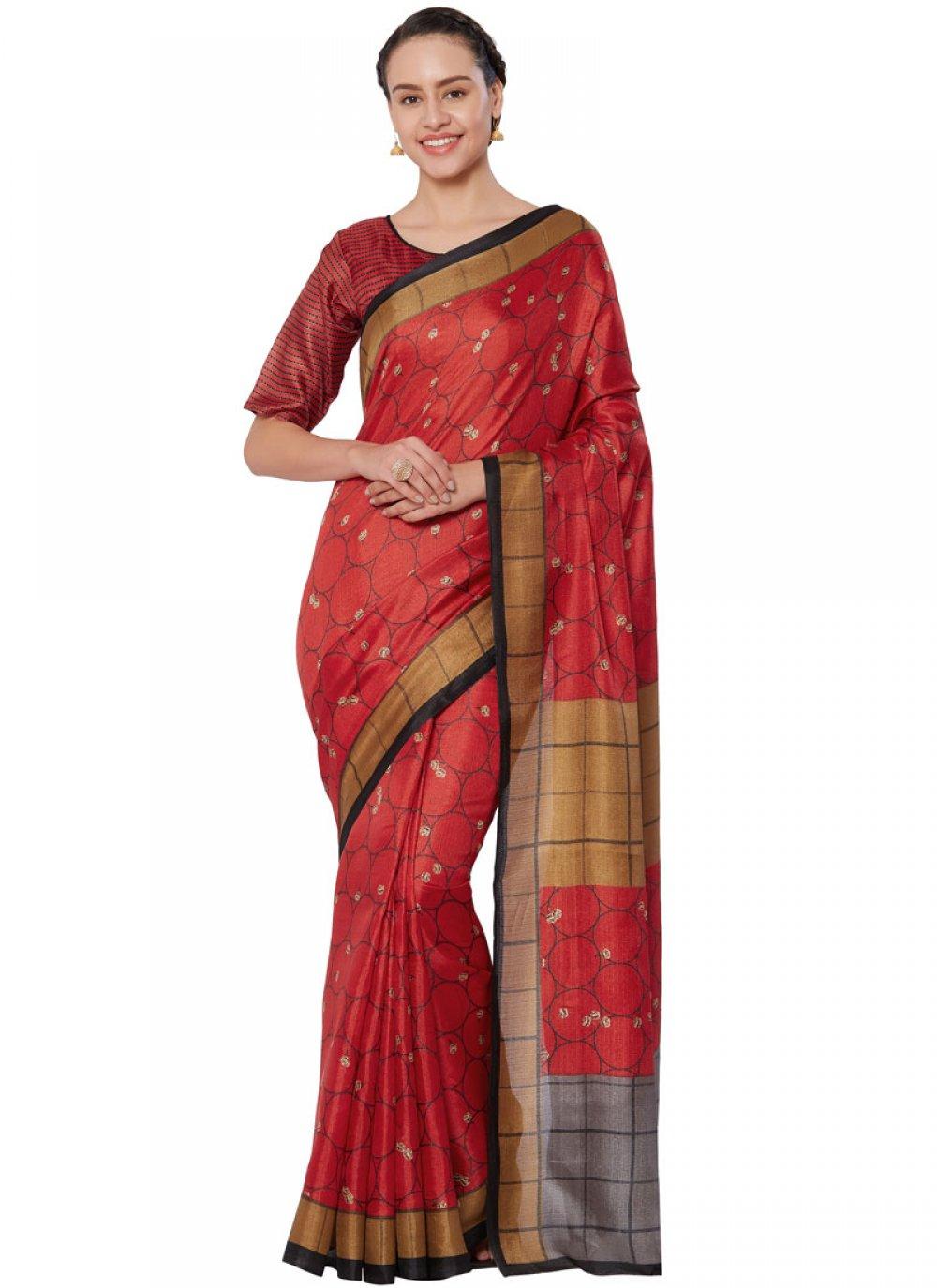 Art Silk Print Red Casual Saree