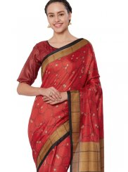 Art Silk Print Red Casual Saree