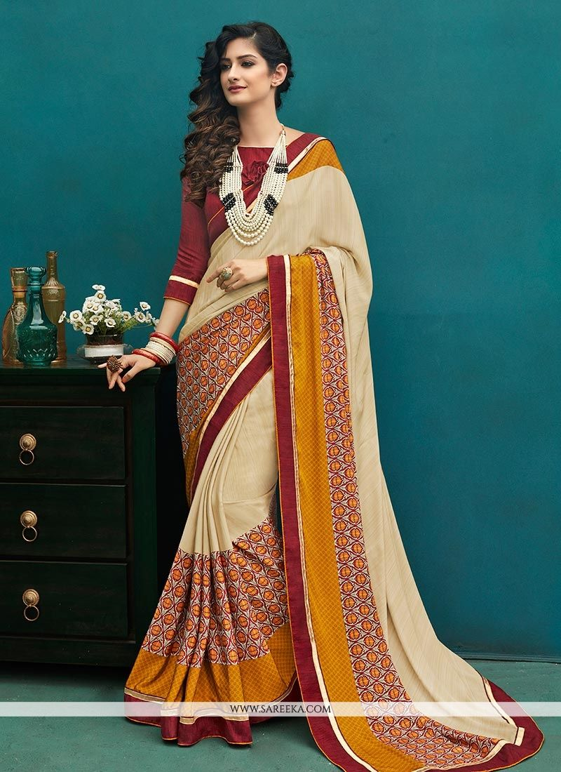Art Silk Print Work Printed Saree