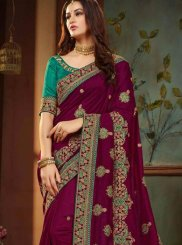 Art Silk Purple Embroidered Designer Traditional Saree