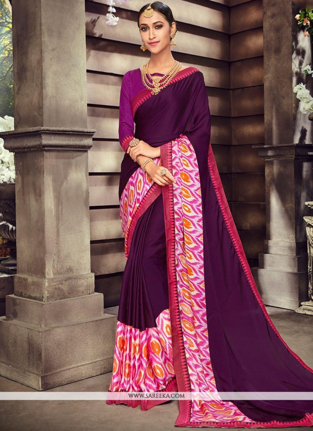 Art Silk Purple Print Work Printed Saree