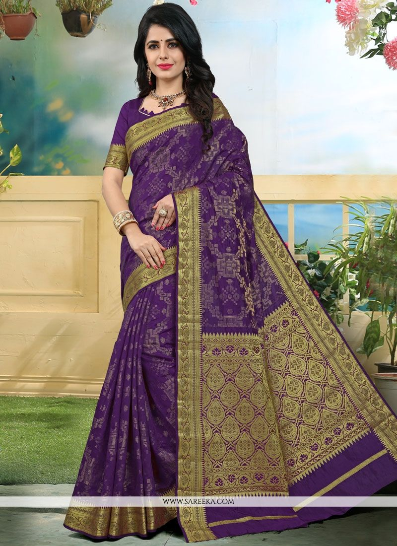 Art Silk Purple Traditional  Saree