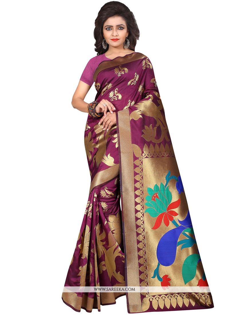 Art Silk Purple Weaving Work Designer Traditional Saree