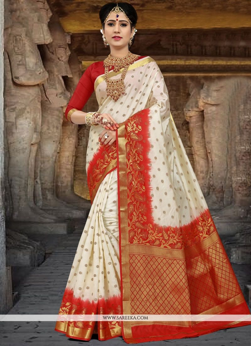 ecc37b8d185d9 Buy Art Silk Red and White Weaving Work Traditional Saree Online   73972 -
