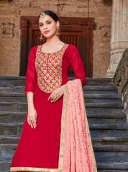 Art Silk Red Churidar Designer Suit