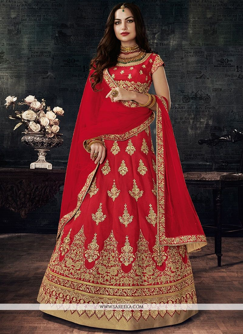 b7fdce48c7 Buy Online Art Silk Red Embroidered Work Lehenga Choli : 69743 -