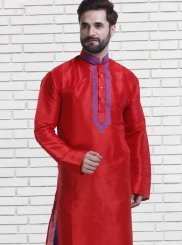 Art Silk Red Kurta Pyjama