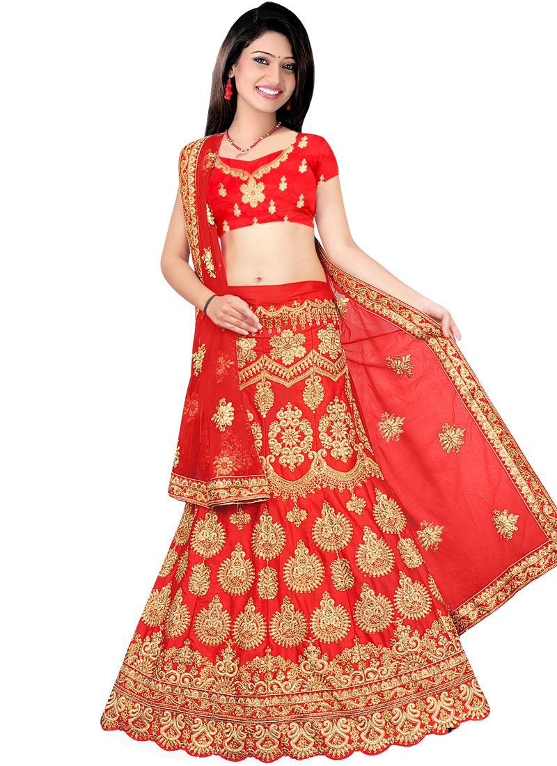 ec85410a03 Buy Art Silk Red Patch Border Work Lehenga Choli : 86013 -