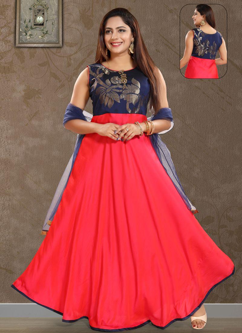 Art Silk Red Patchwork Salwar Kameez
