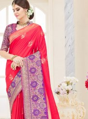 Art Silk Red Weaving Traditional Designer Saree