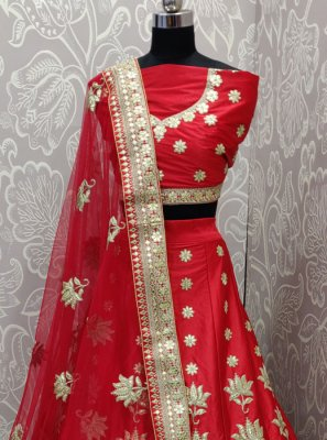 Art Silk Red Zari Lehenga Choli
