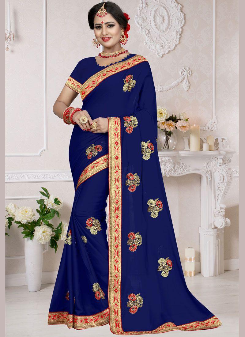 Art Silk Resham Blue Traditional Saree