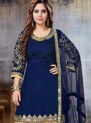 Art Silk Resham Designer Patiala Suit in Navy Blue