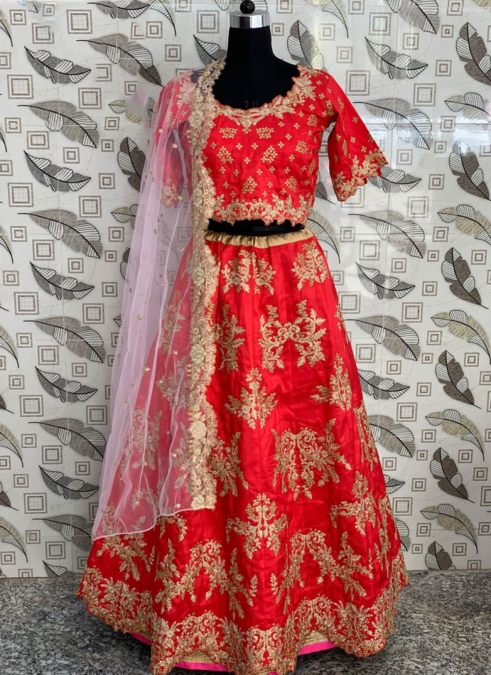 Art Silk Resham Lehenga Choli in Red
