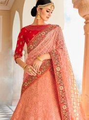 Art Silk Resham Pink Lehenga Choli