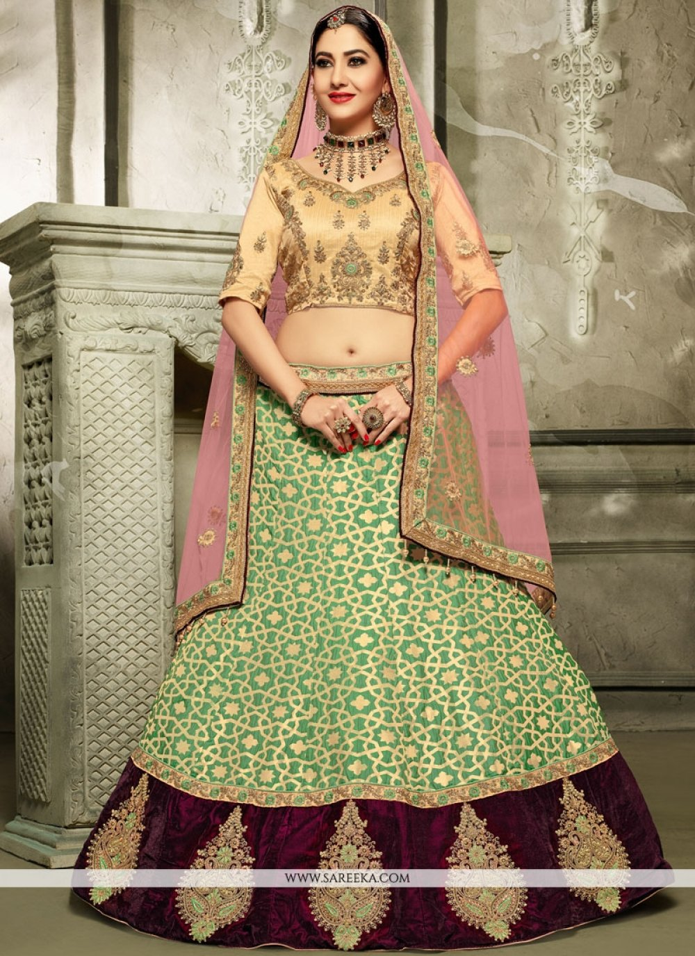 Art Silk Resham Work A Line Lehenga Choli
