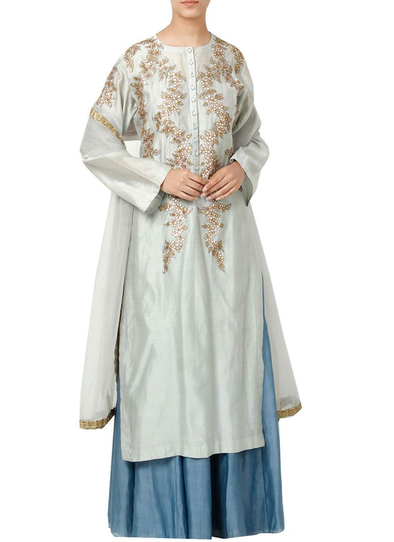 Art Silk Resham Work Designer Palazzo Suit