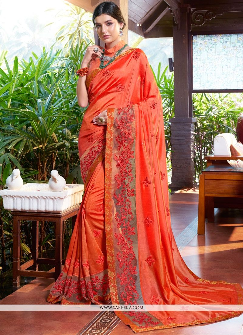 Art Silk Resham Work Designer Traditional Saree