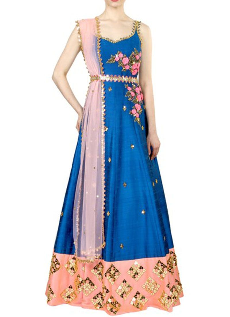 Art Silk Resham Work Floor Length Anarkali Suit