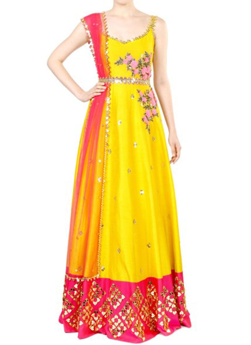 Art Silk Resham Work Floor Length Anarkali Suit