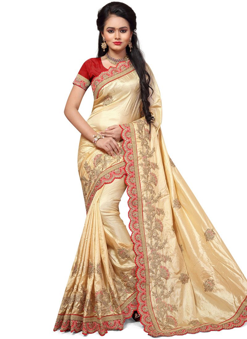Art Silk Resham Work Traditional  Saree