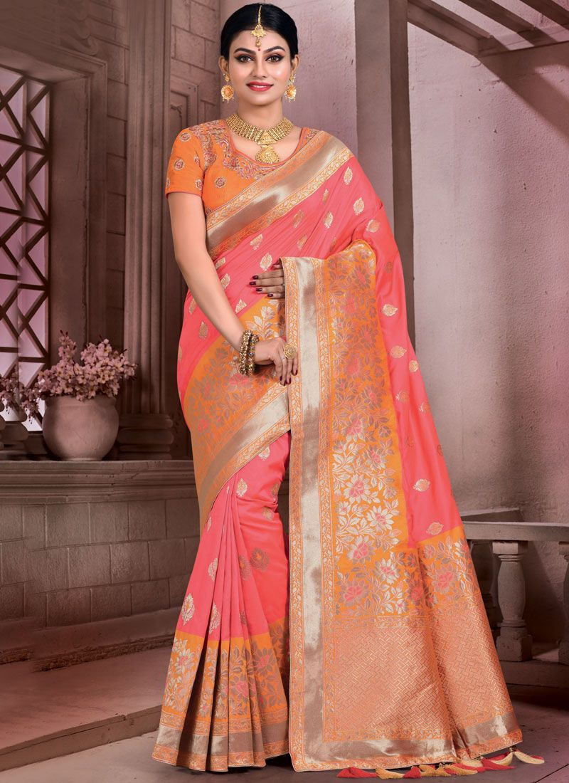 Art Silk Rose Pink Designer Traditional Saree