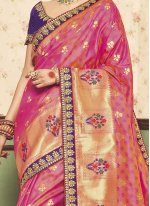 Art Silk Rose Pink Traditional Designer Saree