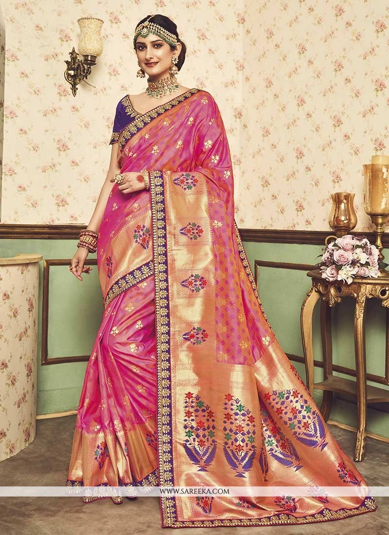 Art Silk Rose Pink Traditional Designer Saree