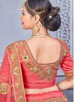 Art Silk Rose Pink Zari Work Lehenga Choli