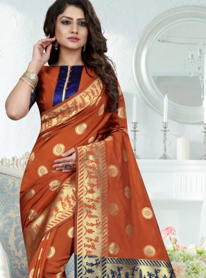 Art Silk Rust Weaving Work Designer Traditional Saree