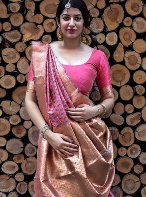 Art Silk Salmon Designer Traditional Saree