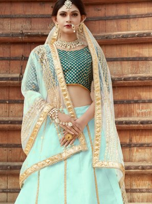 Art Silk Sea Green Embroidered Work Designer Lehenga Choli