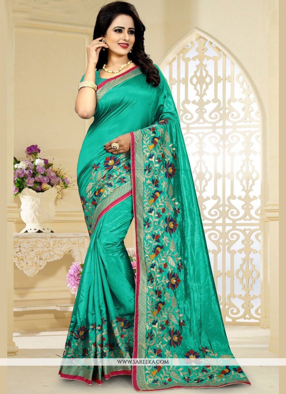 Art Silk Sea Green Embroidered Work Traditional  Saree
