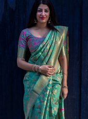 Art Silk Sea Green Weaving Work Designer Traditional Saree
