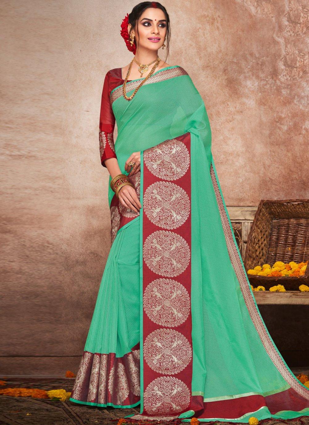 Art Silk Sea Green Woven Traditional Saree