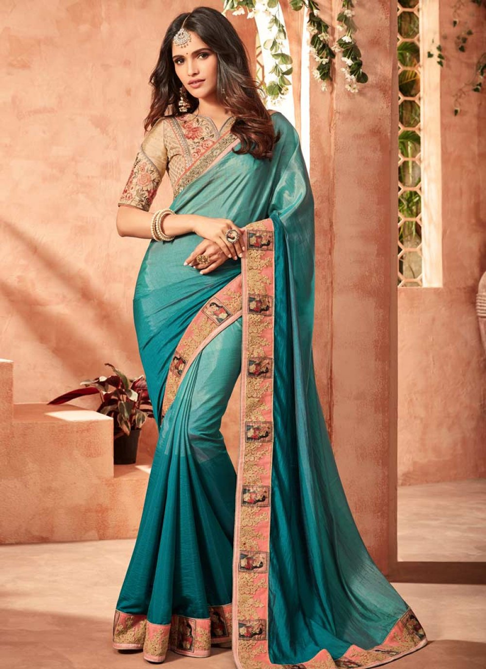 Art Silk Teal Embroidered Shaded Saree