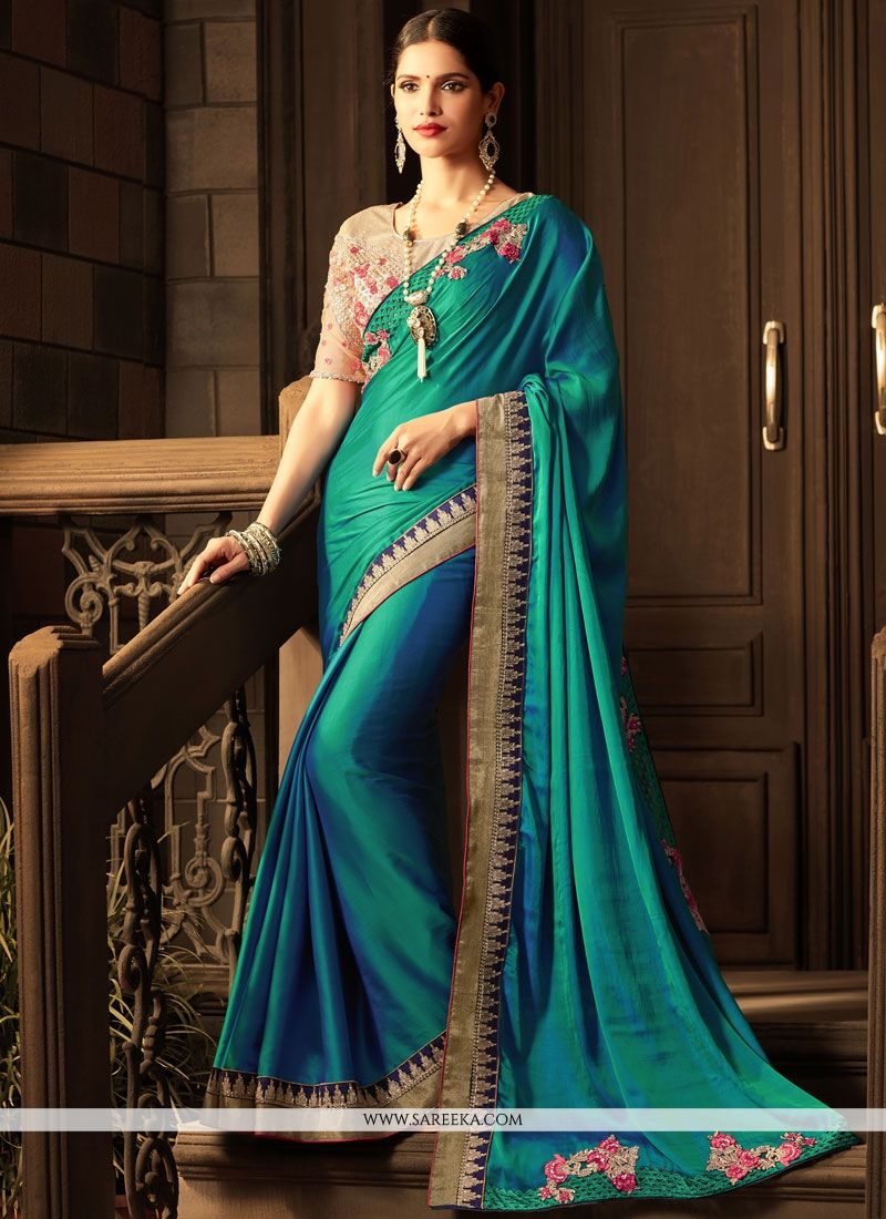 Art Silk Teal Embroidered Work Traditional Designer Saree
