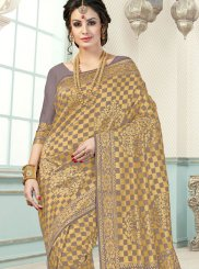 Art Silk Traditional Designer Saree in Beige