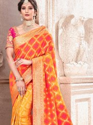 Art Silk Traditional Designer Saree in Orange