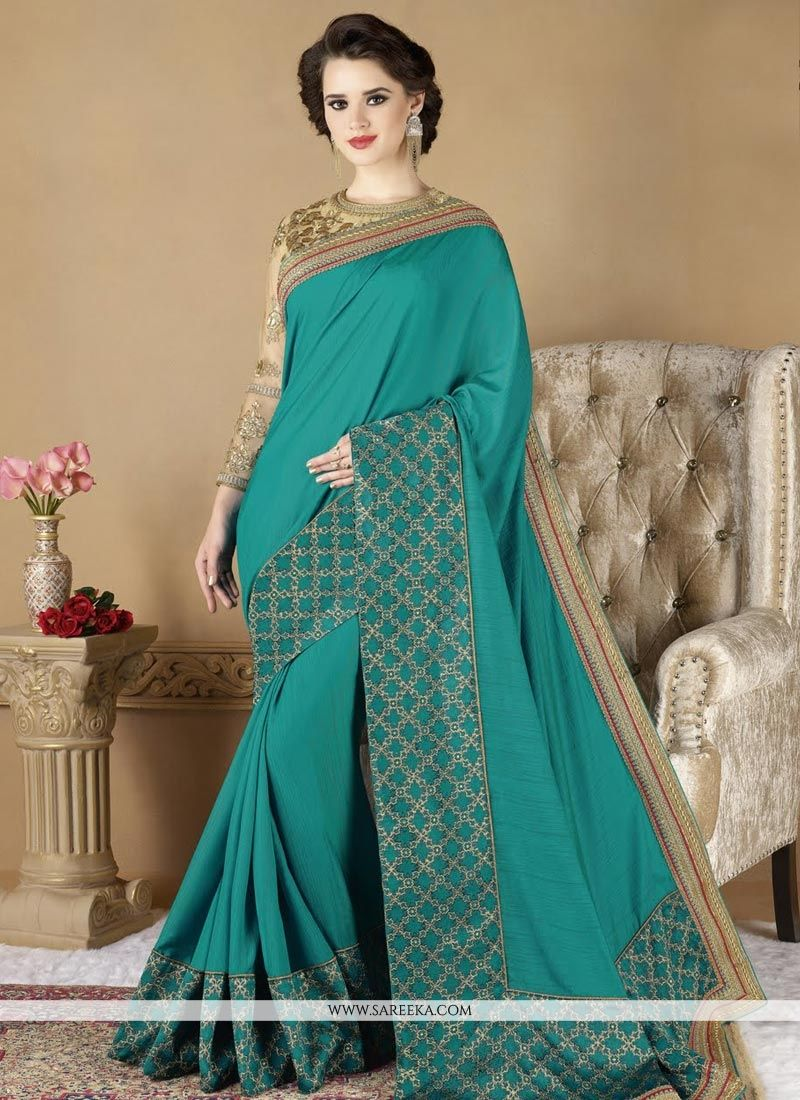 Art Silk Turquoise Traditional Designer Saree