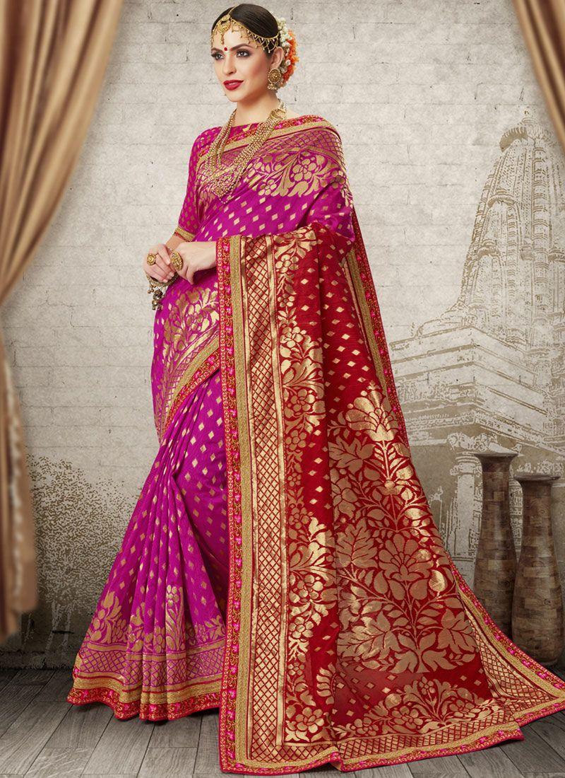 Art Silk Weaving Hot Pink and Red Half N Half  Saree