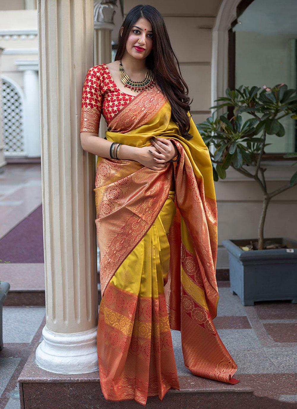Art Silk Weaving Mustard Traditional Saree