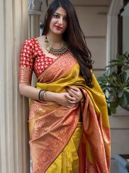Art Silk Weaving Mustard Traditional Saree
