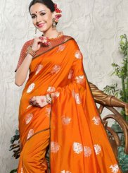 Art Silk Weaving Orange Traditional  Saree