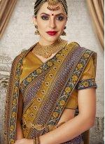 Art Silk Weaving Traditional Designer Saree in Gold
