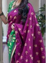 Art Silk Weaving Traditional Designer Saree in Purple