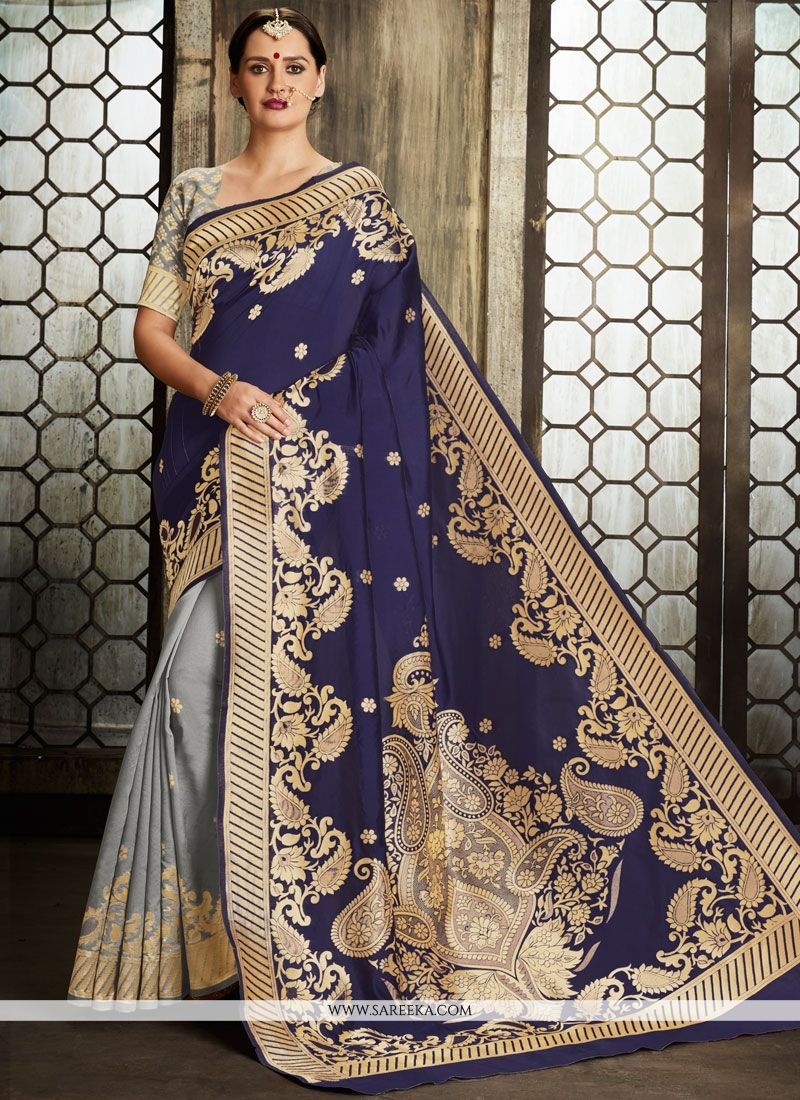 Art Silk Weaving Work Designer Half N Half Saree